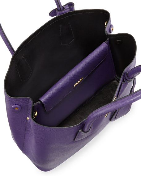 Saffiano Cuir Small Double Bag, Violet (Viola)