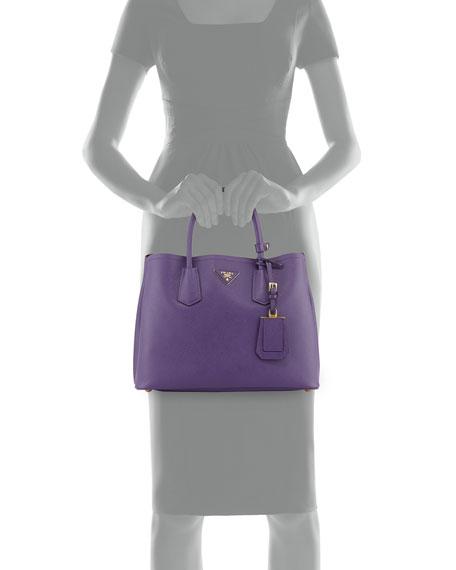 dc2ba66b5b Prada Saffiano Cuir Small Double Bag, Violet (Viola) | Neiman Marcus