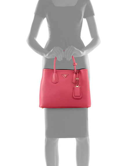 Saffiano Cuir Small Double Bag, Fuchsia (Peonia)