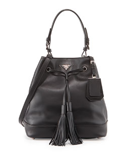 Prada City Calf Medium Bucket Bag, Black (Nero)