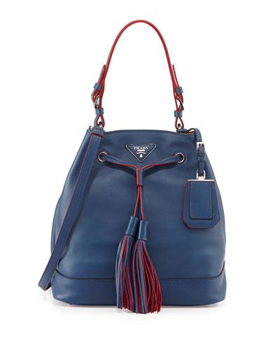 Prada City Calf Medium Bucket Bag, Blue (Bluette)