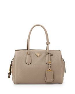Prada Vitello Grain Satchel, Light Gray (Pomice)