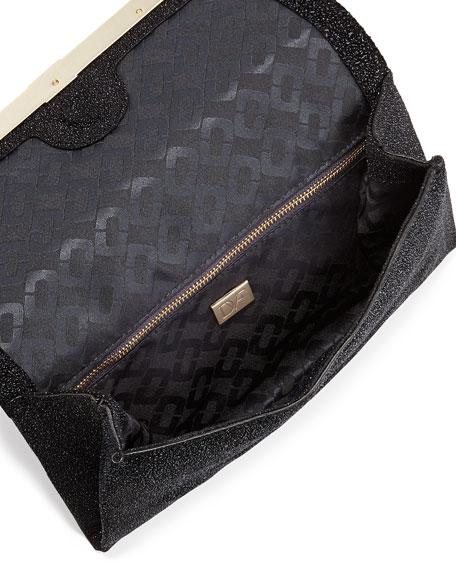 440 Glass-Embossed Envelope Clutch Bag, Black Diamond