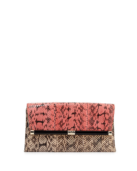 440 Snake Envelope Clutch Bag, Sunkissed French Vanilla