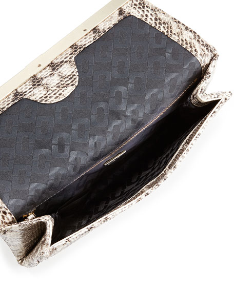 440 Snake Envelope Clutch Bag, Stone/Natural