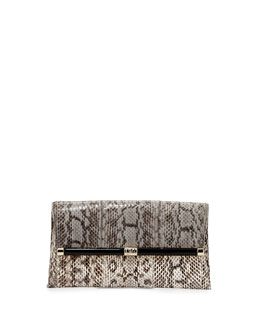 Diane von Furstenberg 440 Snake Envelope Clutch Bag, Stone/Natural
