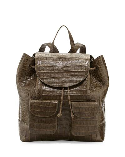Nancy Gonzalez Crocodile Drawstring Backpack, Army Green