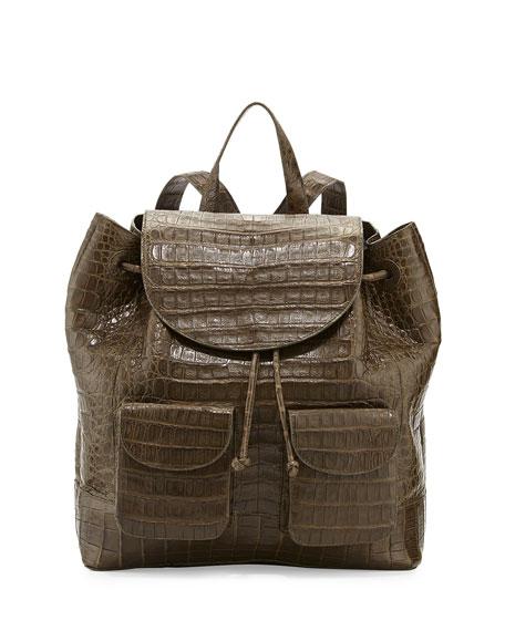 Crocodile Drawstring Backpack, Army Green