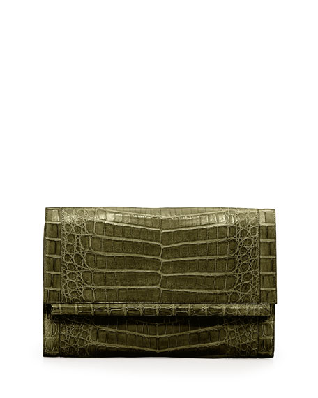 Nancy Gonzalez Front-Flap Crocodile Bar Clutch Bag