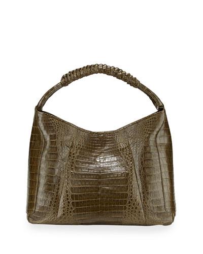 Nancy Gonzalez Crocodile Medium Spiral-Wrapped Hobo Bag, Army Green
