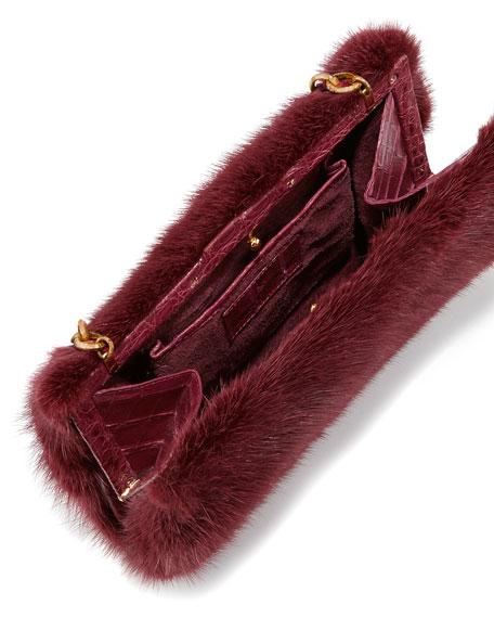 Small Framed Mink Fur Clutch Bag, Bordeaux