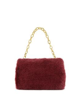 Nancy Gonzalez Small Framed Mink Fur Clutch Bag, Bordeaux