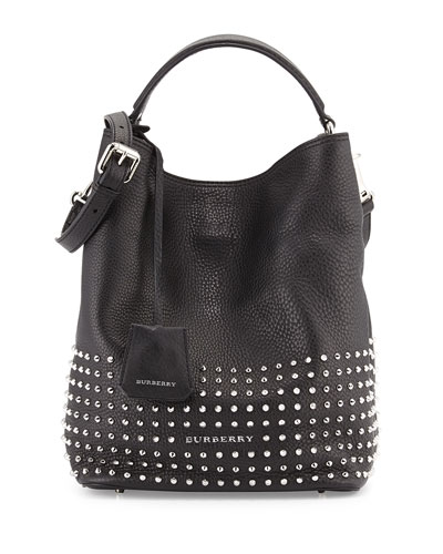 Burberry Studded Leather Hobo Bag, Black