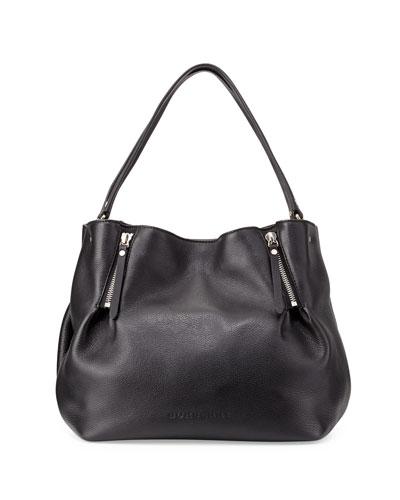 Burberry Leather Zip-Detail Medium Tote Bag, Black