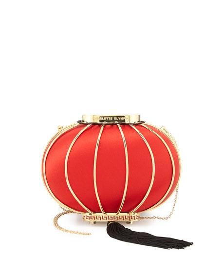 Lantern Satin Minaudiere, Red