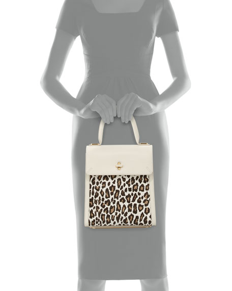 Charlotte Olympia Bogart Calf Hair Top Handle Bag, White/Leopard