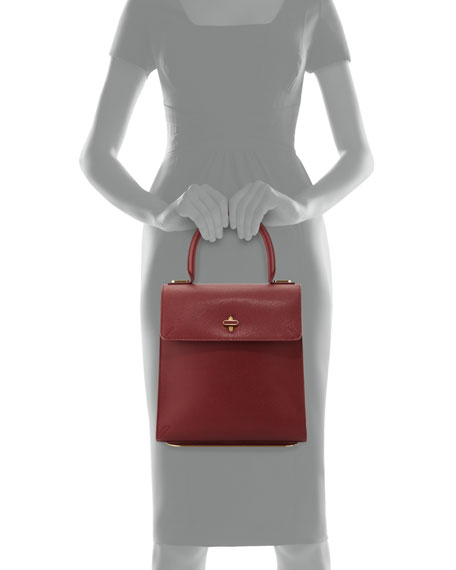Bogart Leather Top Handle Bag, Burgundy