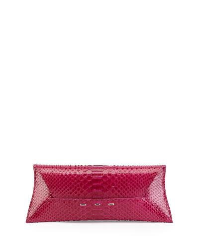 Manila Stretch Python Clutch Bag, Pink