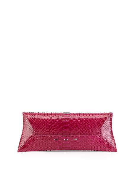 Manila Stretch Python Clutch Bag, Pink