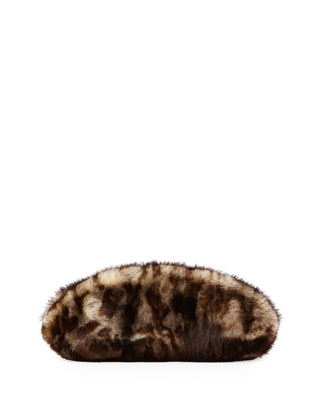 Mink Fur Oval Compact Clutch Bag, Leopard