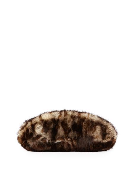 Mink Fur Oval Compact Clutch Bag, Leopard