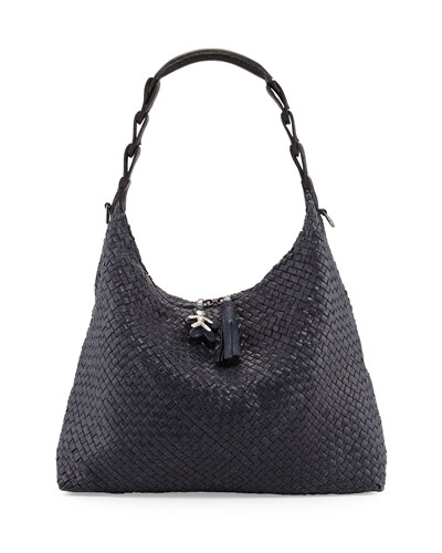 Henry Beguelin Gwen Woven Leather Hobo Bag, Navy