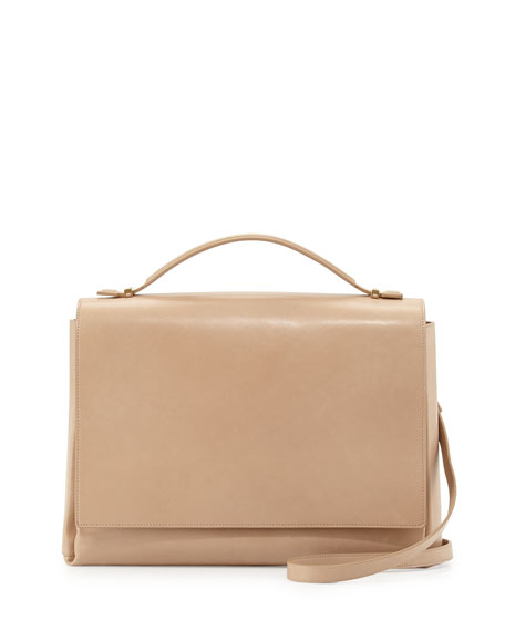 Book Bag 13 Calfskin Satchel Bag, Beige