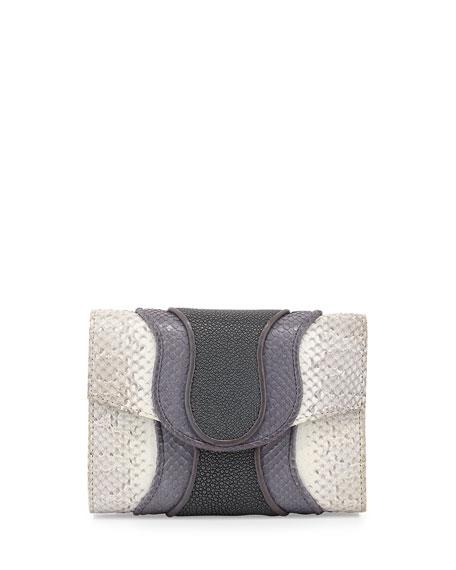 Jolie Snake and Stingray Clutch Bag, White/Gray