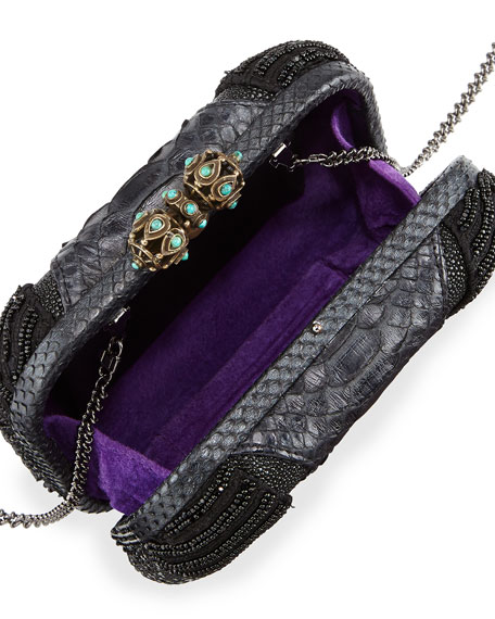 Batasha Beaded Python Clutch Bag, Black