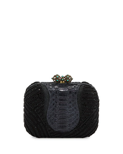 Batasha Beaded Python Clutch Bag, Black