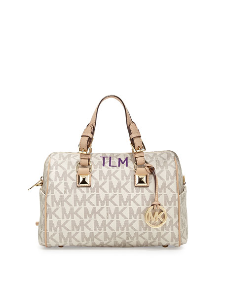 Monogrammed Medium Grayson Logo Satchel