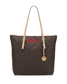 MICHAEL Michael Kors  Monogrammed Large Jet Set Top-Zip Tote