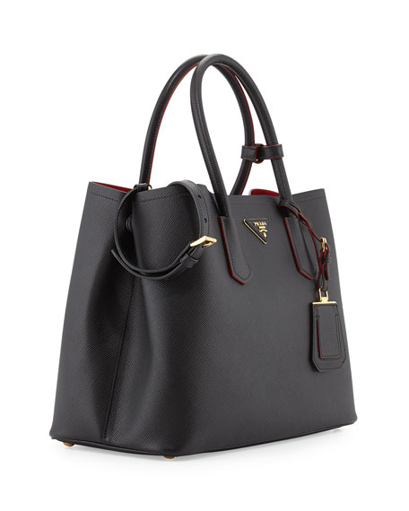 Saffiano Cuir Medium Double Tote Bag, Black (Nero)