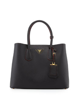 Prada Saffiano Cuir Medium Double Tote Bag, Black (Nero)