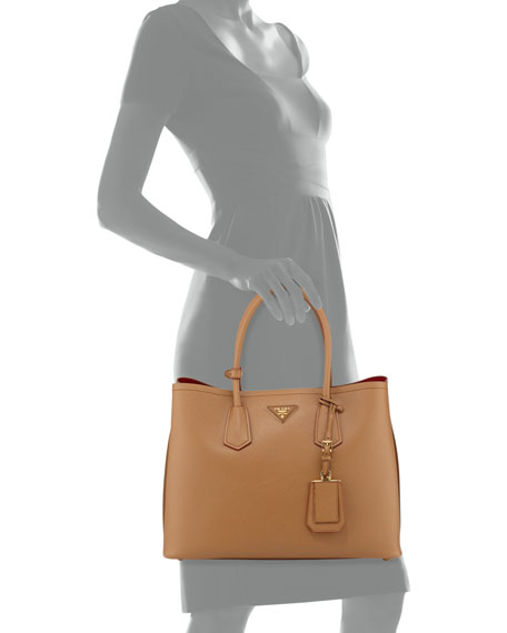 aa2565b1f5a3 Prada Saffiano Cuir Medium Double Bag, Camel (Carmello)