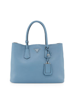 Prada City Calf Double Bag, Denim Blue (Avio)