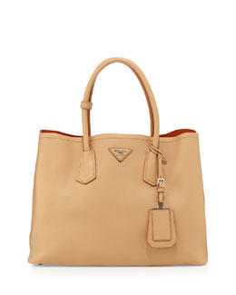 Prada City Calf Medium Double Bag, Beige (Noisette)