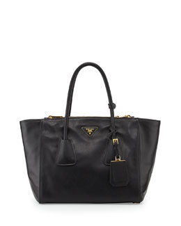 Prada Vitello Twin Pocket Tote Bag, Black (Nero)