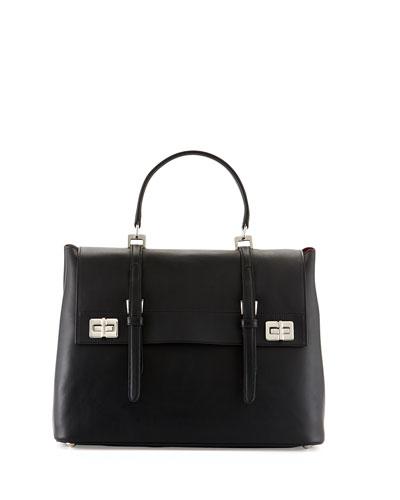 Prada Lux Calf Large Flap Satchel Bag, Black (Nero)