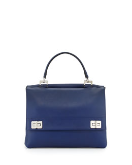 Prada Lux Calf Double-Flap Satchel Bag, Dark Blue (Inchiostro)