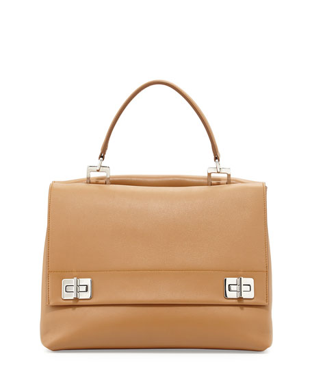 prada saffiano wallet on a chain black - Prada Lux Calf Double-Flap Satchel Bag, Brown (Caramel)