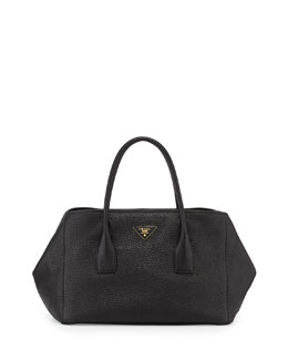 Prada Vitello Daino Garden Tote Bag, Black (Nero)