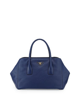 Prada Vitello Daino Garden Tote Bag, Dark Blue (Inchiostro)