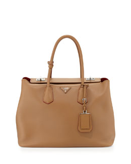 Prada City Calf Large Turn-Lock Twin Bag, Brown (Caramel)