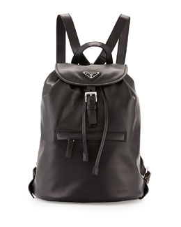 Prada Soft Calfskin Medium Backpack, Black (Nero)
