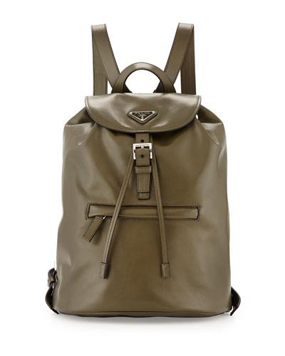 designer backpacks 6lz2  Prada Soft Calfskin Medium Backpack, Olive Green Militare