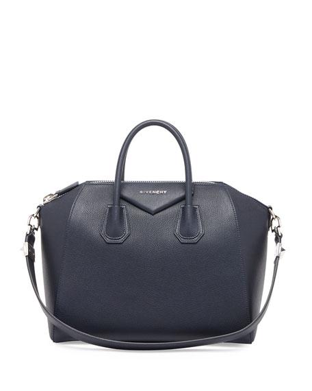 Antigona Medium Leather Satchel Bag, Blue
