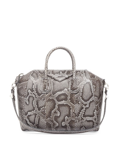Antigona Medium Python Satchel Bag, Pearl Gray