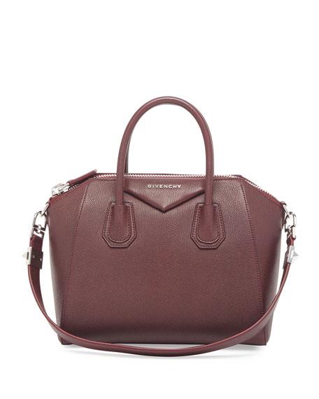 Antigona Small Leather Satchel Bag, Oxblood