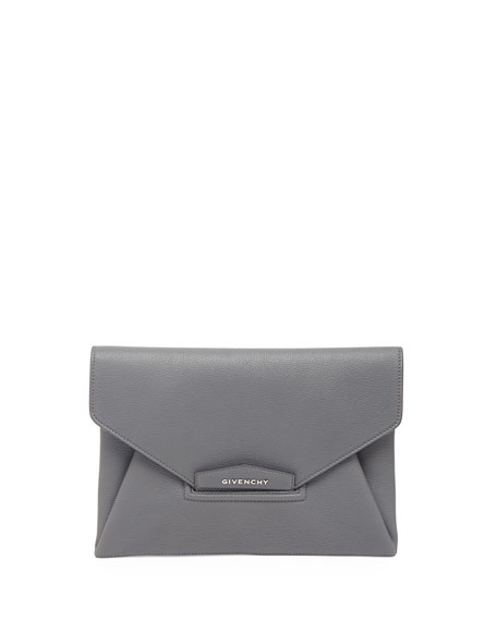 Antigona Evening Envelope Medium Lether Clutch, Gray